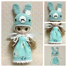 Petite Blythe / Little Dal Outfit : Blue Bunny Mini Set (Dress and Crochet hat)