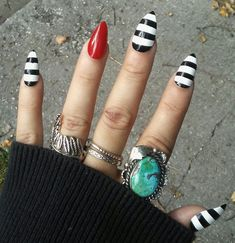 Gothic Striped Black and White & Red Stiletto by RitualNailDesigns