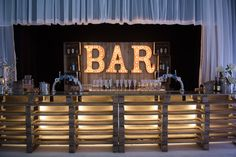 Cool light up letter wooden pallet bar with fairy lights for a Croydon warehouse…