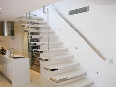 Modern stairs come in many styles and designs that can be real eye-catcher in the different area. We've compiled 99 modern models of stairs that can give Staircase Design Modern, Contemporary Stairs, Modern Stairs, Railing Design, Stair Design, Cantilever Stairs, Stair Gallery, Balustrades, Banisters