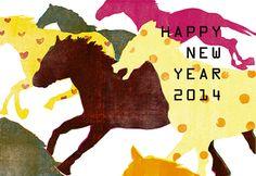 New Year card, 2014. Horses Illustration