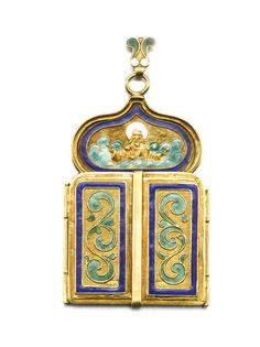 A gold and enamel triptych icon pendant, Moscow, 1899-1908 | Lot | Sotheby's