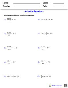 One Step Equations Worksheets Containing Decimals | Math-Aids.Com ...
