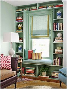 10 Life Changing Interior Design Ideas For Small Spaces - love this shade of green, and the whole window seat wall.