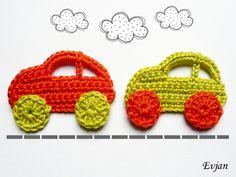 Häkelapplikationen - ♥ Zwei bunte Autos - Häkelapplikation ♥ - ein Designerstück von Evjans bei DaWanda