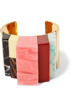 Stella McCartney gold-tone, resin and faux wood cuff