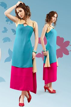Sky blue stylish evening wear georgette kurtis and tunics 6934