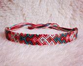 Friendship Bracelet - READY TO SHIP: Braided Handmade Embroidery Floss Fiber Friendship Bracelet - Thin Graduated Arrowhead