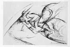 Four studies for Dynamism of a Cyclist, 1913. Umberto Boccioni