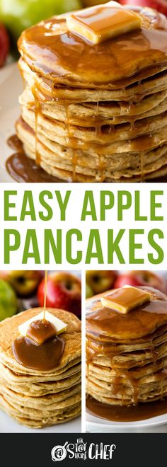 Apple Pancakes are a great way to sneak some healthy fruit into your breakfast routine. These easy pancakes are light, fluffy, and totally easy to make! #applepancakes #pancakes Tasty Pancakes, Pancakes And Waffles, Waffle Recipes, Healthy Fruits, Brunch, Apple, Breakfast, Apple Fruit, Morning Coffee