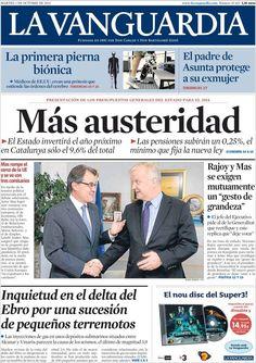 Los Titulares y Portadas de Noticias Destacadas Españolas del 1 de Octubre de 2013 del Diario La Vanguardia ¿Que le pareció esta Portada de este Diario Español?