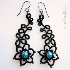 Tatted lace earrings Art Nouveau black