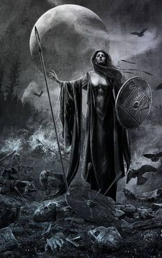 "The Morrigan - Shape-shifting Celtic goddess of War, Fate and Death. She is also called the ""washer at the ford"" because if a warrior sees her washing her armor in the stream, it means he will die that day. The Morrighan often appears in the form of a crow or raven or is seen accompanied by a murder of them. In the Ulster cycle, she is shown as a cow and a wolf too. by rachelle"