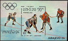 Laos 1984 Ice Hockey Souvenir Sheet Unmounted Mint.