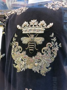 Dolce & Gabbana, rue St Honore Paris. A goldwork embroidered garment from a 2015 collection for men.