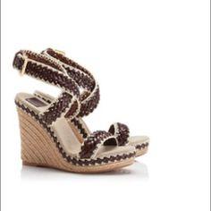 "Tory Burch 'Lilah' Espadrille Wedge Sandal NWT Tory Burch Wedge sandals with dark brown leather straps. Size 8.5. 4 1/2"" heel; 1 1/4"" platform Tory Burch Shoes Wedges"