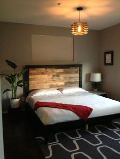 Master bedroom for single male client. Www.style-bites.com Modern, vintage, master bedroom, neutral bedroom, bachelor, midcentury modern, chandelier, Edison