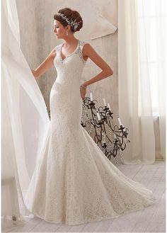 GORGEOUS LACE V-NECK NATURAL WAISTLINE MERMAID WEDDING DRESS SEXY LADY LACE FORMAL PROM BRIDESSMAID
