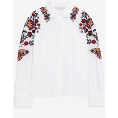 FLORAL EMBROIDERED SHIRT - TOPS-TRF | ZARA United States ($50) ❤ liked on Polyvore featuring tops, white top, white shirt and shirt top