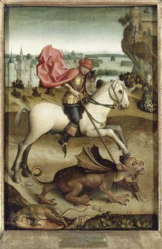 Combat de saint Georges contre le dragon  ~ 15e siècle ~ St. George fighting against the dragon ~ 15th century