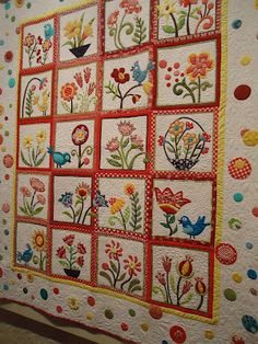 This quilt is an Awards of Excellence for the color/white & brights. It's called My Whimsical Quilt Garden. The quilter is LuAnn Carlson.  Piece O' Cake Designs
