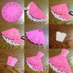 56 New Ideas for origami dress card weddings Paper Doily Crafts, Doilies Crafts, Paper Doilies, Diy Paper, Paper Art, Origami Vestidos, Origami Dress, Diy Origami, Origami Paper