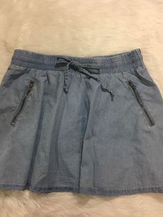 Fabletics Mikah Chambray Skirt Sz S Flared Mini Zipper Detail Elastic Waist NWT  | eBay