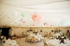 Pastel Marquee Wedding at Hedingham Castle, Essex with Aire Barcelona Gown Wedding Table Assignments, Card Table Wedding, Hanging Paper Decorations, Paper Lanterns, Hang From Ceiling Decor, Hedingham Castle, Wedding Gown A Line, Wedding Dresses, Vintage Wedding Signs