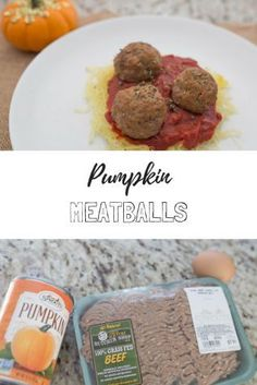 pumpkin meatballs over spaghetti squash with a tomato basil sauce // dinner ideas // protein recipe // food options // fall dinners // #proteinchallenge #sponsored