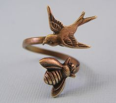 The birds and the bees ring oxiidized brass. $21 #ring
