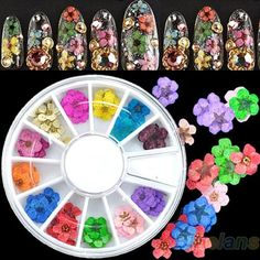 60Pcs 3D Nail Art Sticker Dried Flower DIY Tips Acrylic Decoration Wheel BC4U