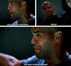 In this scene linc's face looked so funny hajajkashjshauwk Best Series, Best Tv Shows, Favorite Tv Shows, Movies And Tv Shows, Tv Series, Prison Break Quotes, Dominic Purcell, Michael Scofield, Broken Families