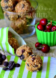 Dark chocolate and cherry peanut butter oat bites make the perfect snack! These crunchy little morsels are perfectly sweetened with dark chocolate and dried cherries. Tomorrow Reece competes in his first swim meet. Cake Pops, Macarons, Chocolates, Snack Recipes, Dessert Recipes, Oatmeal Recipes, Brunch Recipes, Delicious Desserts, Yummy Food