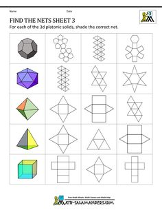 geometry nets worksheets find the nets 3