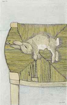 Rabbit on a Chair by Lucian Freud; dated 'April 44' ~ pencil and crayon on paper  18 7/8 x 12¼in. (48 x 31cm.)  Executed in 1944