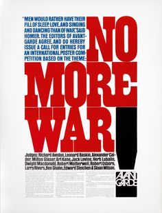 """""""No More War"""" – Avant Garde Magazine Call for Entries, designed by Herb Lubalin – Fonts In Use Typography Prints, Typography Poster, Graphic Design Typography, Lettering, Typography Portrait, Herb Lubalin, Cultura Pop, Poster Competition, Milton Glaser"""