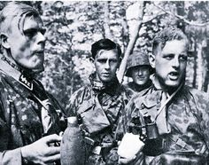 "Waffen SS riflemen grab a quick bite in the middle of action. Waffen SS training stressed endurance with little or no food, although hydration was considered (correctly) indispensable. Some other means of boosting energy were sugar cubes, chocolate, and often ""energy pills"" like Pervitin, a controlled substance that saw wide use in combat."