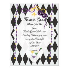 Mardi Gras Party Personalized Announcement
