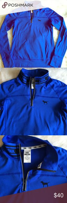 """💗📚VS PINK Ultimate Half Zip!📚💗 💗📚VS PINK Ultimate Half Zip!📚💗 Size Small. Runs true to size. In Great Used Condition! No stains, rips, or holes. It was barely worn. Blue with """"PINK"""" logo in black around the collar. Thumb holes. Inside is lined w/ a fleece-like, soft feeling material that is great for a crisp fall run!🍃👟Pocket @ lower back area for keys/phone w/ zipper closure + reflective trim. Reflective tape trim on sides of front zipper. Reasonable Offers Considered Via the…"""
