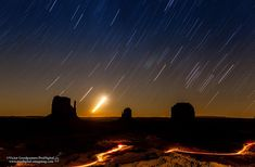 Star trails over Monument Valley on September 27, 2013 from Victor Goodpasture.  The bright object is the moon.
