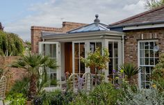 Small Timber Orangery Extension to Kitchen Orangery Roof, Kitchen Orangery, Orangerie Extension, Westbury Gardens, House Extensions, Kitchen Extensions, Enclosed Porches, Roof Lantern, Cottage Door
