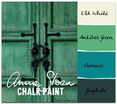 COLORWAYS     Annie Sloan Chalk Paint is easily mixed to form custom colors. Antibes Green added to Florence results in a deep emerald. Tints can then be made by adding different amounts of Old White to the custom color.