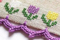 beautiful border and cross stitch Crochet Lovey Free Pattern, Crochet Edging Patterns, Crochet Borders, Crochet Designs, Cross Stitch Borders, Cross Stitch Designs, Cross Stitching, Cross Stitch Patterns, Crochet Crafts