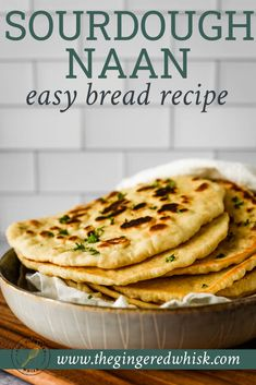 Easy Foolproof Sourdough Naan Recipe - The Gingered Whisk Sourdough Naan Bread Recipe, Sourdough Starter Discard Recipe, Recipes With Naan Bread, Bread Starter, Amish Bread Recipes, Indian Food Recipes, Crockpot, Cooking Recipes, Reception Sarees