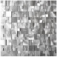 3D Raised Cobblestone Pattern Aluminum Mosaic Tile (EMT_AL10-SIL-CB)