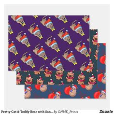 Pretty Cat & Teddy Bear with Santa Xmas Hats Wrapping Paper Sheets #Onmeprints #Zazzle #Zazzlemade #Zazzlestore #Zazzleshop #Zazzlestyle #Pretty #Cat #Teddy #Bear #Santa #Xmas #Hats #Wrapping #Paper #Sheets Unique Cats, Print Wrap, Pretty Cats, Creative Gifts, Christmas Time, Gifts For Kids, Craft Projects, Merry Christmas, Wraps
