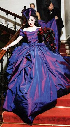 Dita Von Teese in a Vivienne Westwood violet silk taffeta wedding gown paired with Christian Louboutin custom shoes, and a hat by Dior Couture. Unusual Wedding Dresses, Celebrity Wedding Dresses, Celebrity Weddings, Wedding Gowns, Bridal Gowns, Bridal Boudoir, Wedding Reception, Vivienne Westwood Designs, Vivienne Westwood Wedding Dress