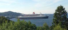 Bergen hadde fint besøk idag - Queen Mary II / A royalty visited Bergen today - Queen Mary II - view from the terrace :)  29.5.2014 / IJ