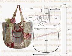 Y TELAS: Patrones de bolsos y monederos Patchwork Bags, Quilted Bag, Bag Quilt, Purse Patterns, Sewing Patterns, Tote Pattern, Fabric Patterns, Denim Bag, Fabric Bags