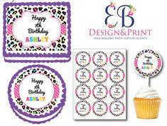 Cheetah Birthday, Leopard Cake, Cookie Cake Birthday, Birthday Design, Party Supplies, Happy Birthday, Rainbow, Unique Jewelry, Handmade Gifts